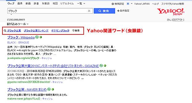 Yahoo関連ワード(虫眼鏡)