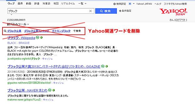 Yahoo関連ワードを削除致します