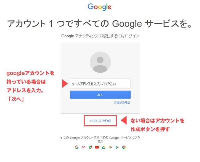 Google Analyticsログイン画面