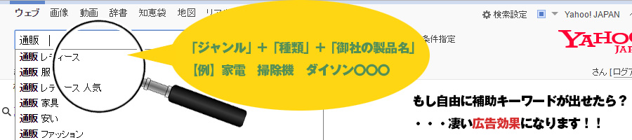 Yahoo!サジェスト+関連ワード(虫眼鏡)表示